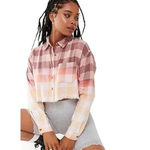 F21 Ombré Plaid Cropped Flannel Shirt Small